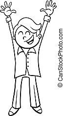 niño, colorido, carácter, caricatura, página, feliz