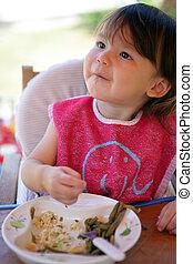 niño comer, comida, joven