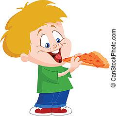 niño, comer pizza
