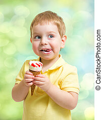 niño, comida, helado