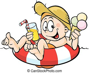 niño, comida, hielo, jugo, lifebuoy, bebida, se sienta, crema