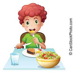 niño, comida