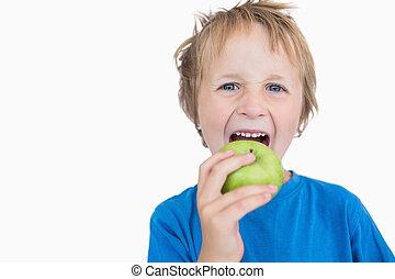 niño, comida, manzana, joven, verde, retrato