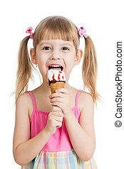 niño, comida, sabroso, helado