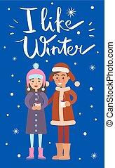 niño, como, ilustración, vector, niña, invierno