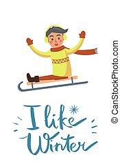 niño, como, ilustración, vector, trineo, invierno