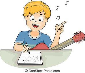 niño, componer, canción