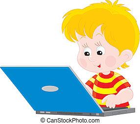 niño, computador portatil