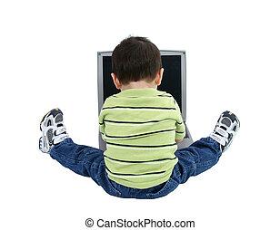 niño, computador portatil, niño