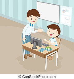 niño, computadora, profesor, estudiante, enseñanza