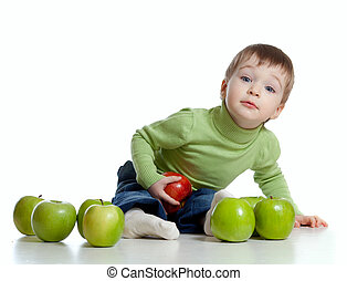 niño, con, alimento sano, rojo y verde, manzanas