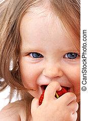 niño, con, comida.