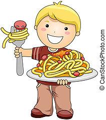 niño, con, espaguetis