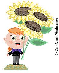 niño, con, flores