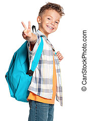 niño, con, mochila
