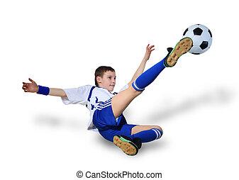 niño, con, pelota del fútbol, futbolista
