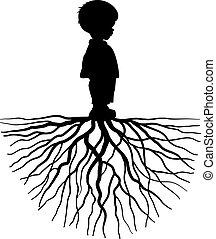 niño, con, raíz