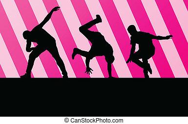 niño, concepto, silueta, baile, vector, plano de fondo