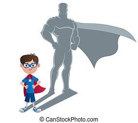 niño, concepto, superhero