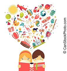 niño, concepto, vuelo, imaginación, objetos, lectura de la...