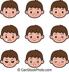 niño, conjunto, expresión