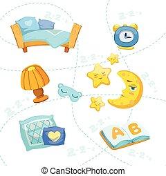 niño, conjunto, objetos, dormitorio