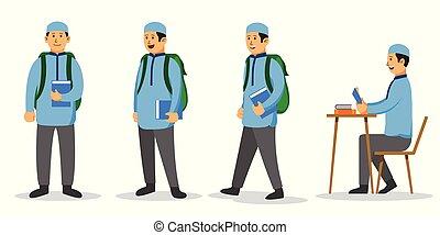 niño, conjunto, plano, carácter, musulmán, estudiante...