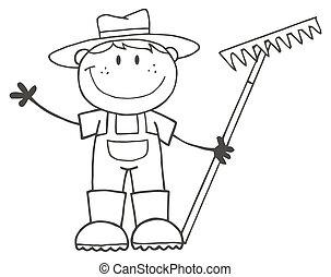 niño, contorneado, granjero
