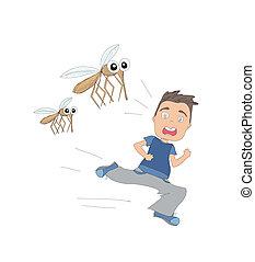 niño, corre, mosquitos, lejos