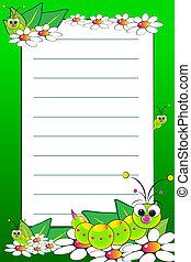 niño, cuaderno, con, blanco, forró página