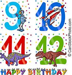 niño, cumpleaños, diseño, caricatura