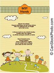 niño, customizable, niñas, dos, amigo, plano de fondo, mejor