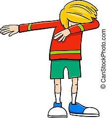 niño, dabbing, caricatura, ilustración