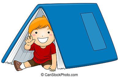 niño, debajo, libro grande