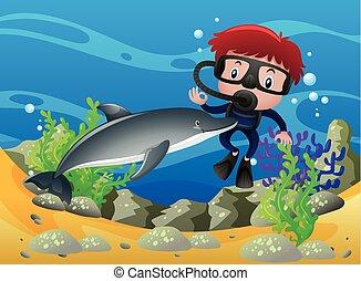 niño, delfín, océano, debajo, buceo, escafandra autónoma