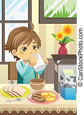niño, desayuno, comida