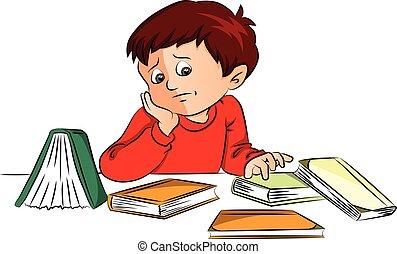 niño, desk., vector, libros, infeliz