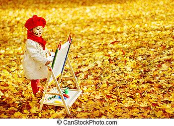 niño, dibujo, en, caballete, en, otoño, park., creativo,...