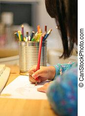 niño, dibujo, escritura