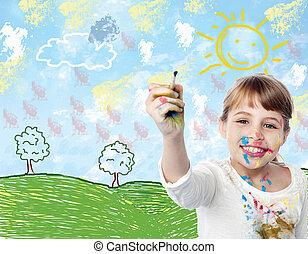 niño, dibujo, paisaje, joven