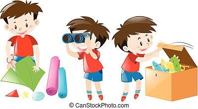 niño, diferente, camisa, rojo, cosas