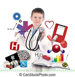 niño, doctor, salud, blanco, iconos