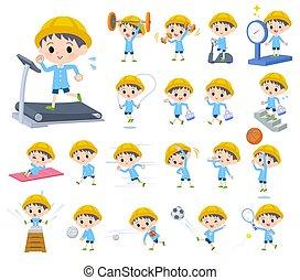 niño, ejercicio, jardín infantil