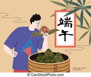 niño, el gozar, delicioso, zongzi