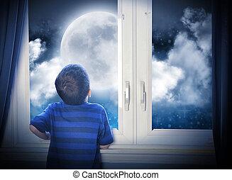 niño, el mirar, noche, luna y estrellas
