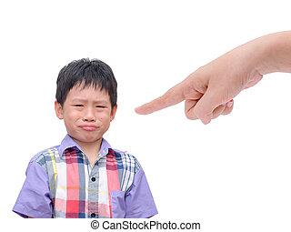niño, el suyo, descontentado, padre, llanto, command.