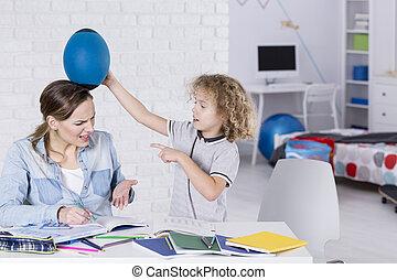 niño, el suyo, fastidioso, madre