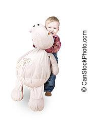 niño, el suyo, favorito, juguete, hipopótamo