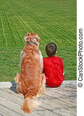 niño, el suyo, perro