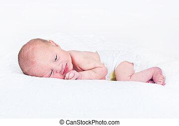 niño, el suyo, viejo, relajante, uno, recién nacido, ...
